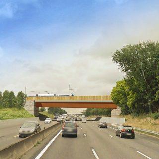 Pont au-dessus de l autoroute A6, Grigny ©LAVIGNE CHERON I Architectes