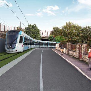 Le tram T12 rue des Rossays, Savigny-sur-Orge © Vectuel