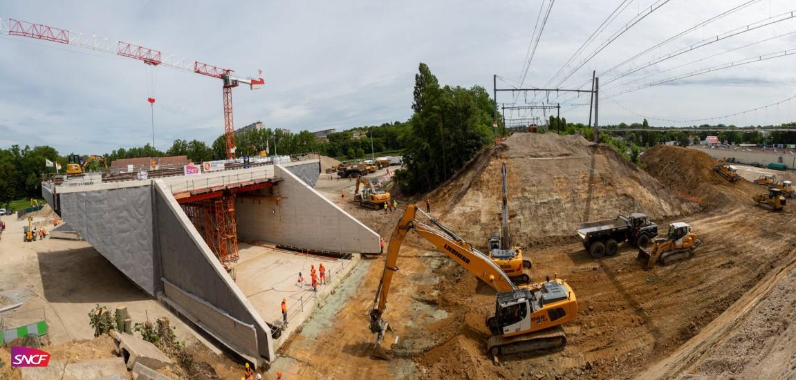 Poussage du pont-rail d'Épinay-sur-Orge