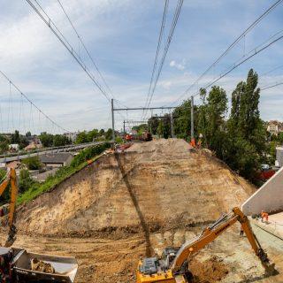 Poussage du pont-rail, Épinay-sur-Orge