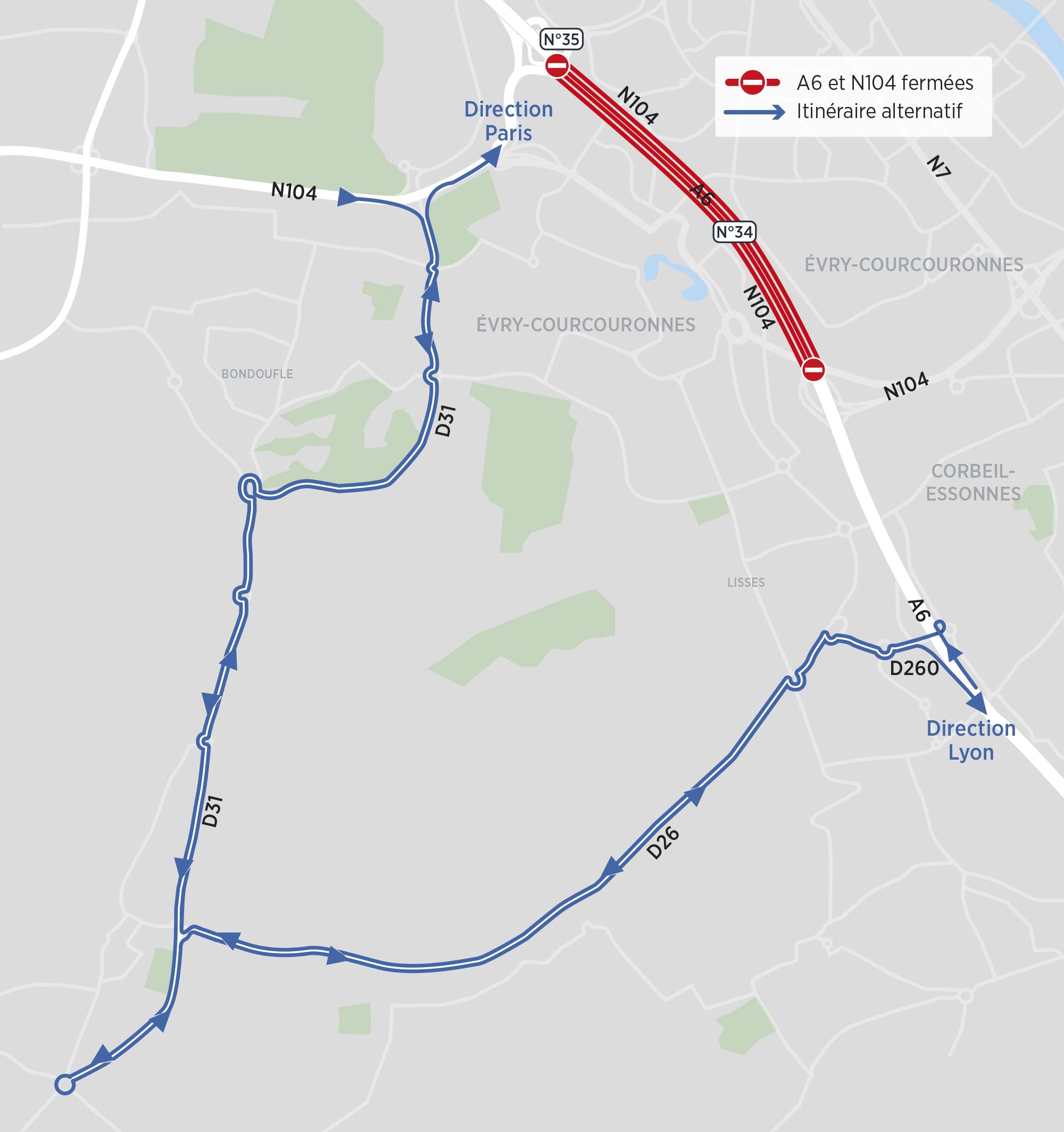 Fermetures A6 et N104 - itinéraire alternatif