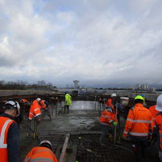 Bétonnage du pont de Ris-Orangis, février 2020