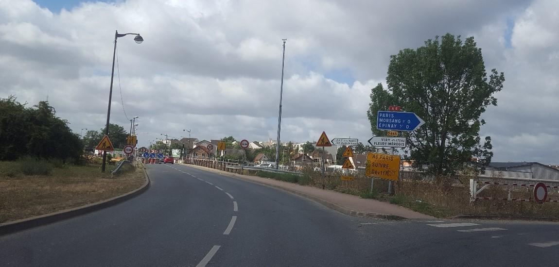 Les travaux au niveau de la RD445, à Viry-Chatillon