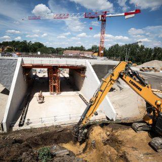 Pont-rail prêt à être ripé