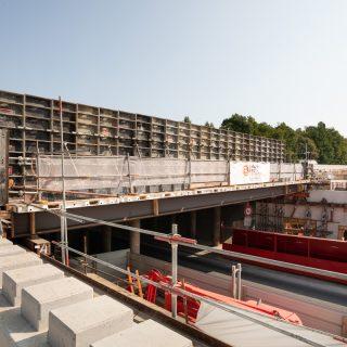 Le chantier du pont de la RD77 et de la station aérienne, en septembre 2020