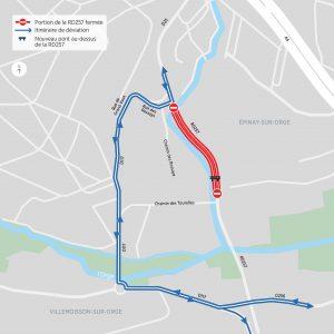Itinéraire de déviation conseillé pour les véhicules légers.