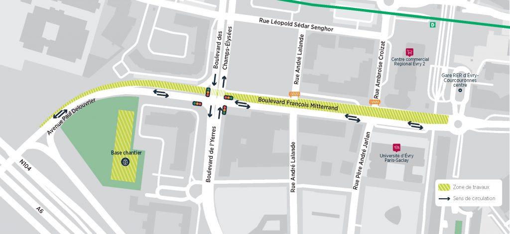 Phase 3 des travaux dans le centre-ville d'Évry-Courcouronnes (2020-2021)