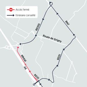 Itinéraire de déviation via la RD31, la RN7 et la RD310