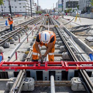 Pose des rails dans le centre-ville d